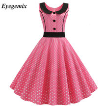 Pink Polka Dot Dicetak Vintage Gaun Wanita 2019 Musim Panas Retro 50 S 60 S Pin Up Rockabilly Pesta Gaun Jubah vestidos Plus Ukuran(China)