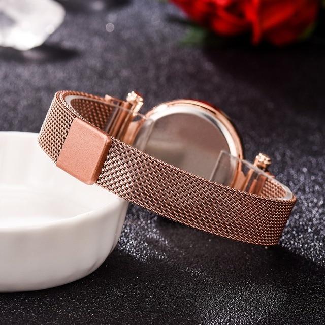 Reloj con imán Digital para mujer, banda de malla de acero inoxidable, pantalla LED, regalo 6
