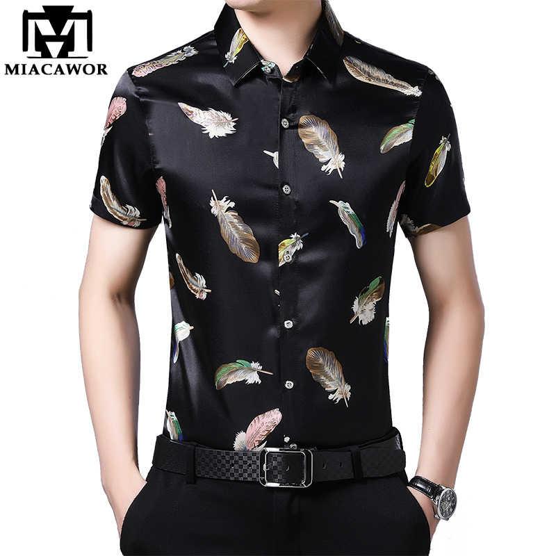 2020 nuova Estate Camicia a maniche Corte Degli Uomini di Casual Shirt da Uomo Slim Fit Vestito Della Stampa di Modo Camicia Camiseta Masculina Streetwear c657