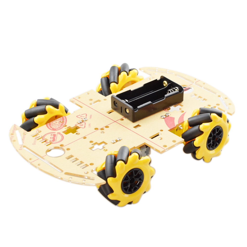 Cheapest Yellow 60mm Omni Mecanum Wheel Robot Car Chassis Kit With 4pcs Mecanum Wheel TT Motor For Arduino Raspberry Pi DIY Toy