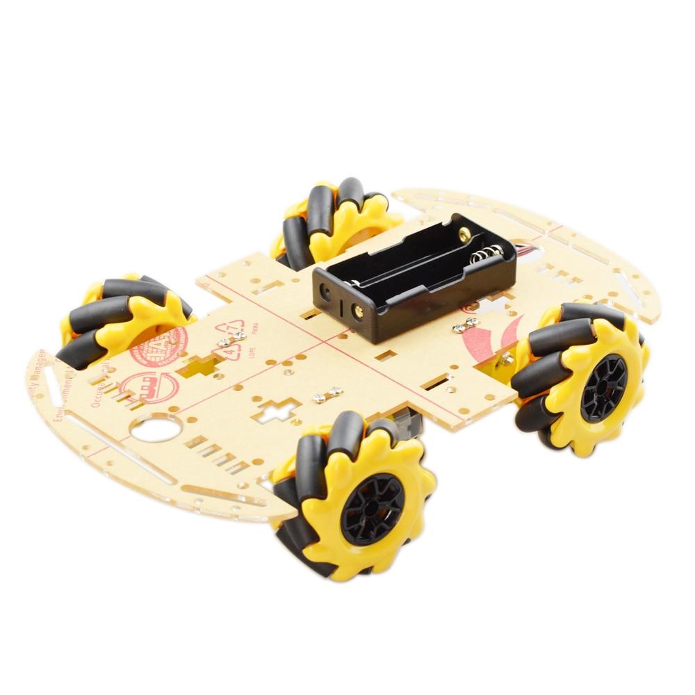Cheapest Yellow 60mm Omni Mecanum Wheel Robot Car Chassis Kit With 4pcs Mecanum Wheel TT Motor For Arduino Raspberry Pi DIY Toy