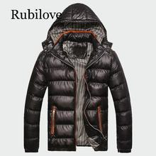 Rubilove 2019 Winter Mens Coats Warm Thick Male Jackets Padded Casual Hooded Parkas Men Overcoats Brand Clothing L-5XL