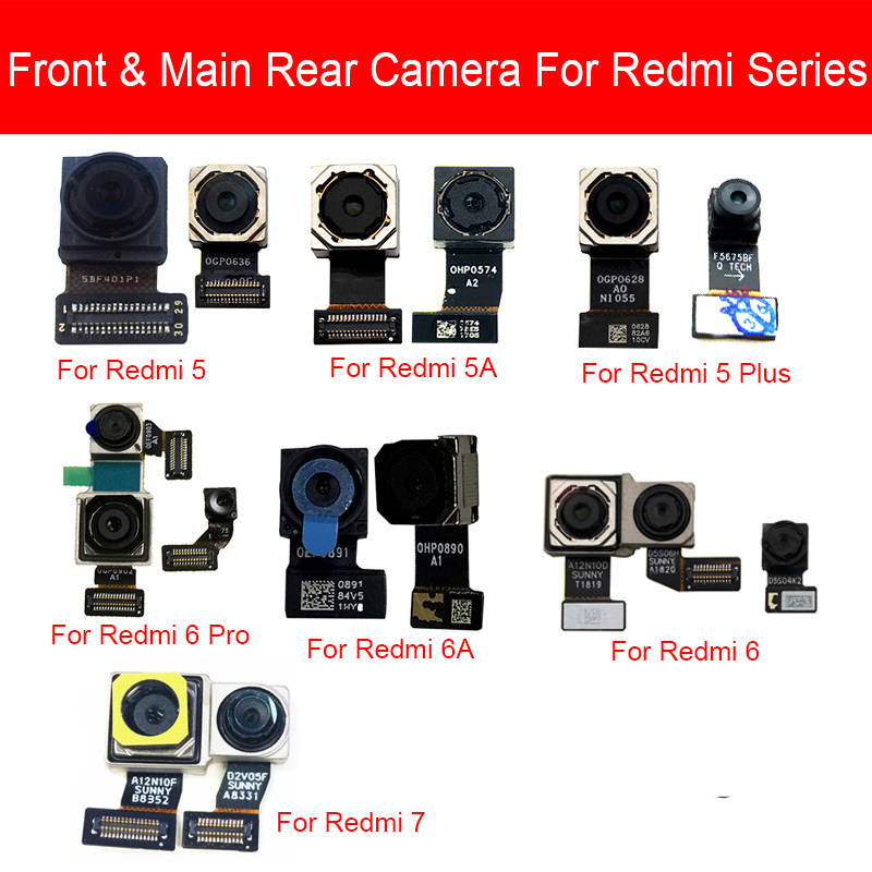 Main Camera For Xiaomi Redmi 5 5A 6 6A 7 Pro Plus Front & Rear Back Big Samll Facing Camera Flex Cable Replacement Parts