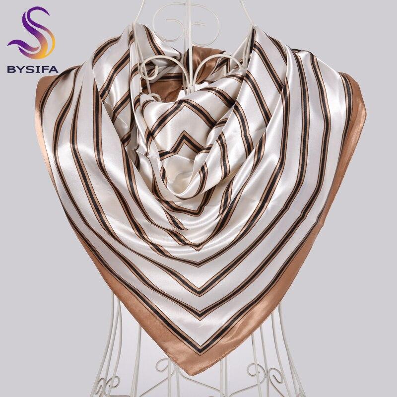 [BYSIFA] New Khaki White Stirped Square Scarves Hijabs Fashion Fall Winter Women Satin Silk Scarf Shawl Muslim Neck Scarf Cape
