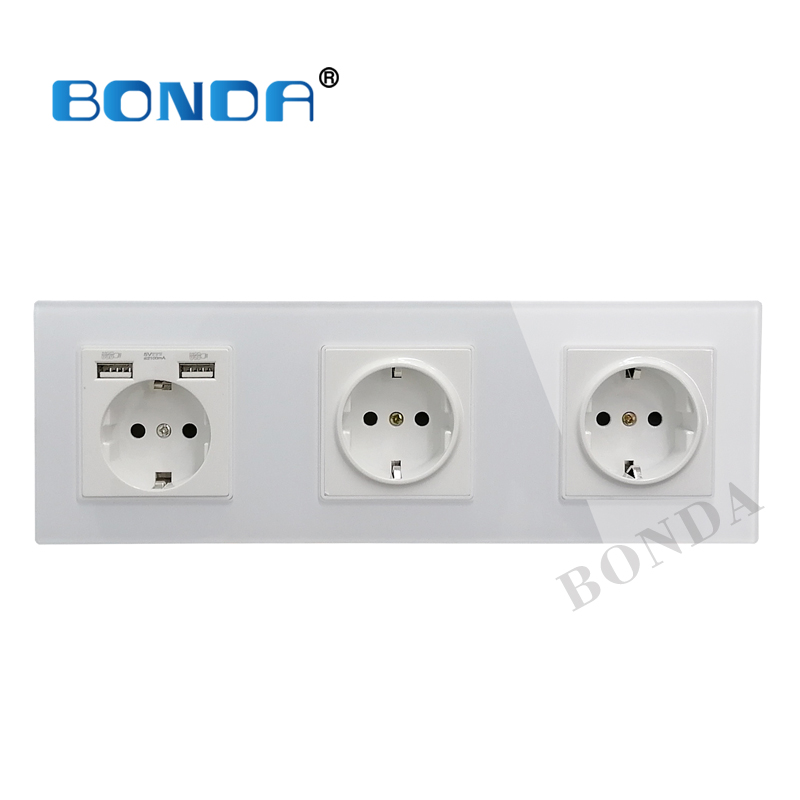 New 16A USB Power Socket, EU Standard, Socket Panel, Three-layer Power Socket (without Plug), Crystal Tempered Glass AC110-250V