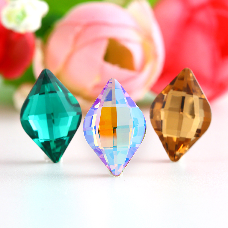 Lemon shape Rhinestone Crystal Glass Stones for clothing Loose Rhinestones sew On Base Garment Wedding Dress Shoes Bags Diy Trim