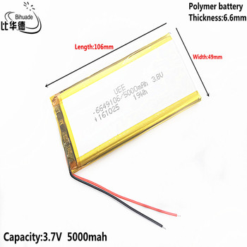 Good Qulity Liter energy battery 3.8V,5000mAH 6649106 Polymer lithium ion / Li-ion battery for tablet pc BANK,GPS,mp3,mp4 image