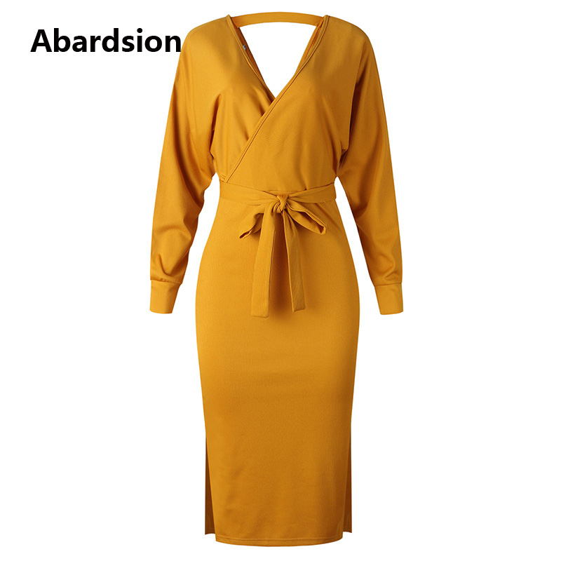 Abardsion Women Knitted Sweater Dress Wrap Belted Tunic Midi Vestidos Long Sleeve Double V Neck Split Casual Autumn Dresses 19 15