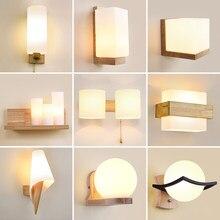 Скандинавская креативная деревянная настенная лампа для спальни, прикроватной тумбочки, лестницы, коридора, комнатное освещение, декорати...
