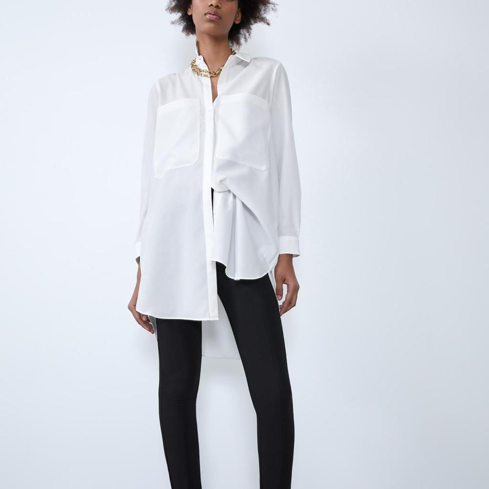 ZA New Blouse Shirt Women White Long Satin Tops Full Sleeve Basic Style Casual Ladies Blouse Female Woman Clothes