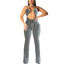 Fadzeco Women Bodycon Jumpsuit Clubwear Sexy Halter Neck Open Back Sleeveless Stripes Rompers Wide Leg Long Pants Jumpsuit
