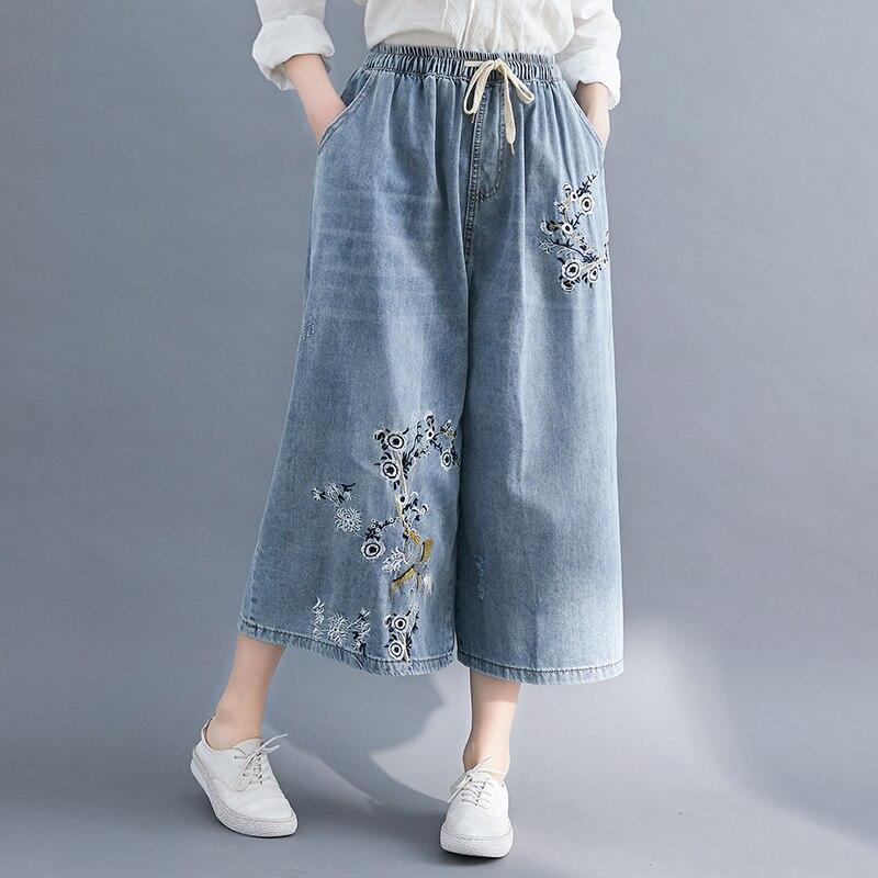 Summer 7/10 Length Flower Embroidered Denim Capri Pants Wide Leg Cropped Jeans for Women M L XL 2XL 3XL 4XL
