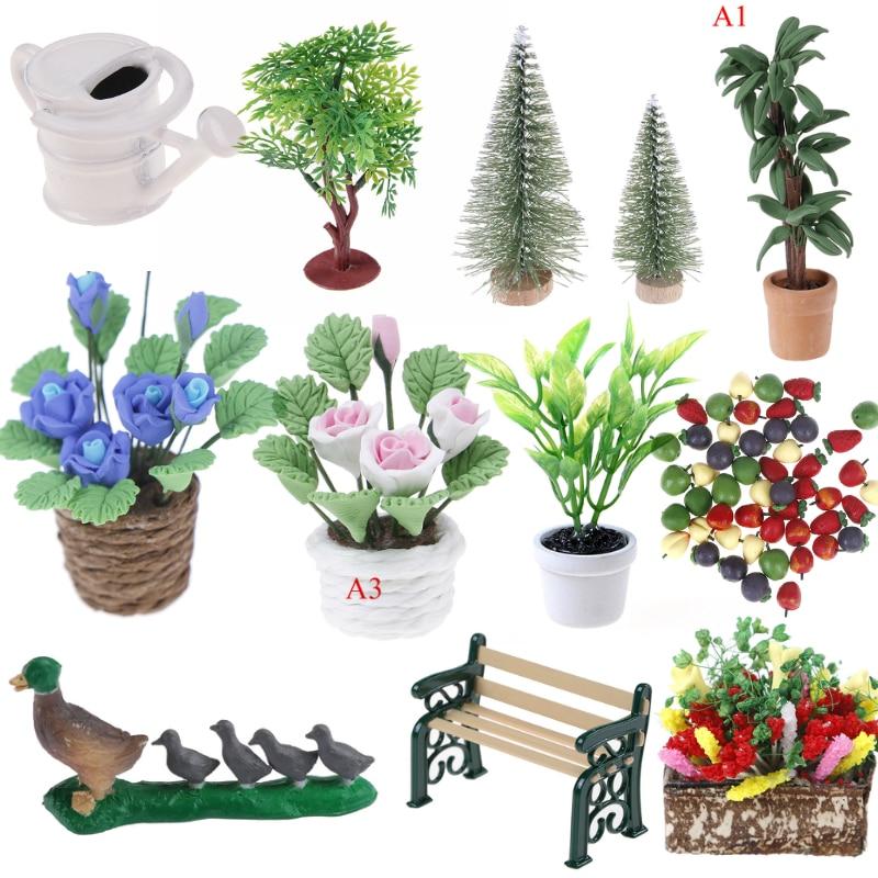 Dollhouse Miniature Pot Flowers Plant Seeds Garden Decoration Suitable Dollhouse Collection Children's Roll Game