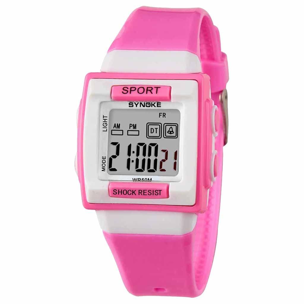 SYNOKE New Silicone Candy Color Student Watch Girls Clock Fashion Flamingo Watches Children Wristwatch Cartoon Kids Quartz Watch