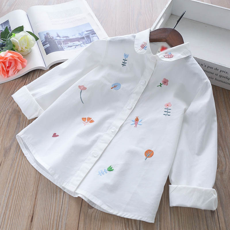 Image 3 - Girls Blouses Long Sleeve White Blouse Autumn 2020 Kids Clothes Girls 8 To 12 Cartoon Fox Embroidery Tops Cotton School ShirtsBlouses & Shirts   -