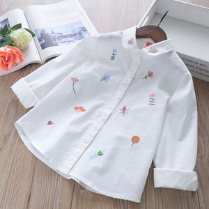 Image 3 - Girls Blouses Long Sleeve White Blouse Autumn 2020 Kids Clothes Girls 8 To 12 Cartoon Fox Embroidery Tops Cotton School Shirts