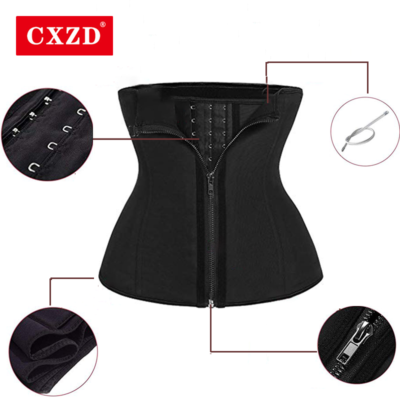 CXZD Women Waist Trainer  Zipper For Weight Loss Tummy Control Sport Corset Cincher Trimmer Girdle Body Shapewear