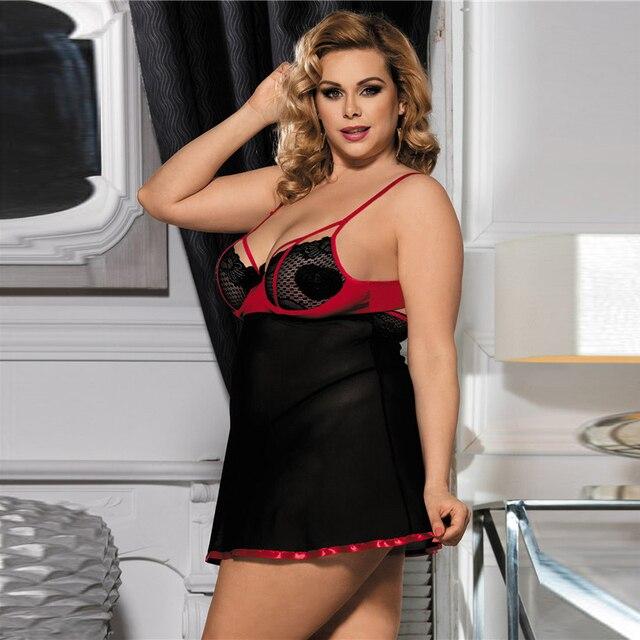 Sexy Transparent Sleepwear Nightie Dress Plus Size #F1633 5