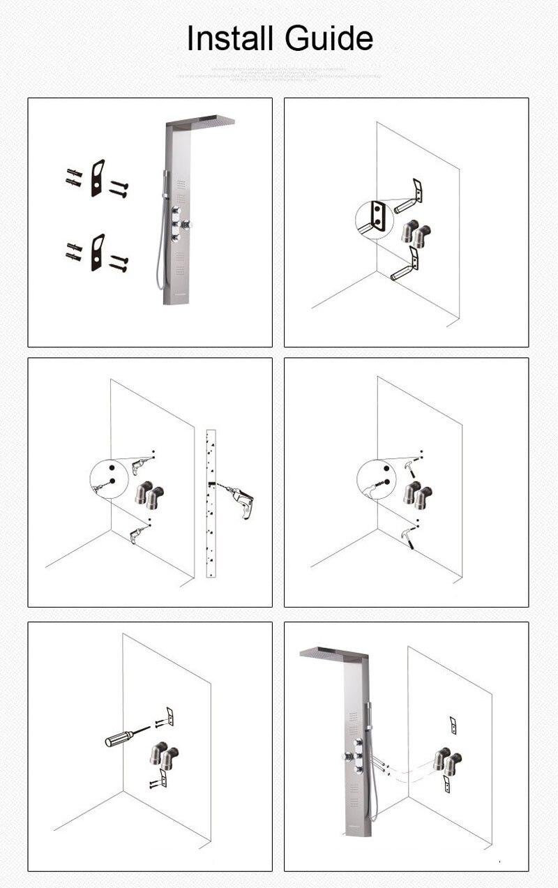 H43bb10903980440abd02418a8031f23co Black LED Light Shower Faucet Bathroom SPA Massage Jet Shower Column System Waterfall Rain Shower Panel Bidet Sprayer Tap