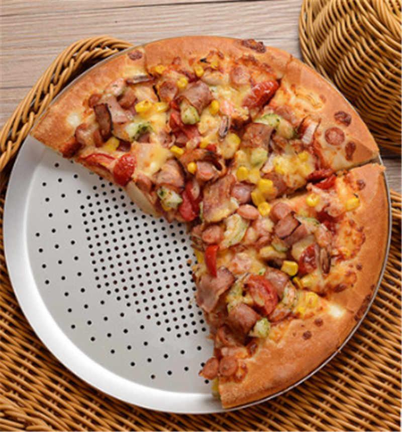 Siyah renk delik yapışmaz Pizza fırın tepsisi tepsisi plaka yemekleri tutucu bakeware pişirme aracı aksesuarları Pizza teli tava Metal file