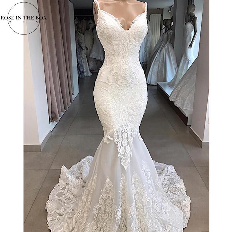 Vestidos De Novia White Mermaid Wedding Dress Backless Sexy V Neck Lace Wedding Gowns Handmade Appluques Bridal Dress gelinlik-in Wedding Dresses from Weddings & Events