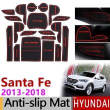 Противоскользящие резиновые ворота слот чашки коврик для hyundai Santa Fe 2013 DM Maxcruz Grand SantaFe ix45 аксессуары