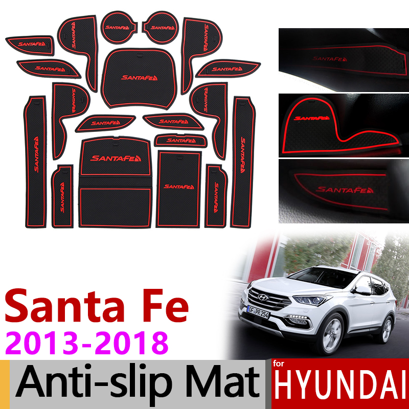 Anti-SLIP ยางประตูถ้วยสำหรับ Hyundai Santa Fe 2013 2014 2015 2016 2017 2018 DM Maxcruz grand Santafe IX45 อุปกรณ์เสริม