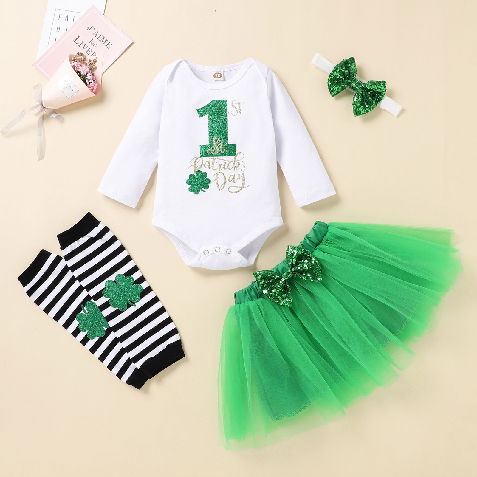 Tutu Romper Skirt Short Long-Sleeve Patrick's Newborn Baby-Girls Letter 0-24M St. Irish