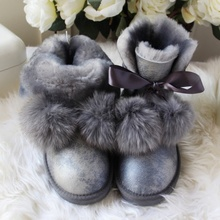 G&ZaCo Luxury Sheepskin Boots Waterproof Winter Wool Fox Fur Ball Snow BootsSheep Fur Flat Short Boots Anti-slip Women Shoes