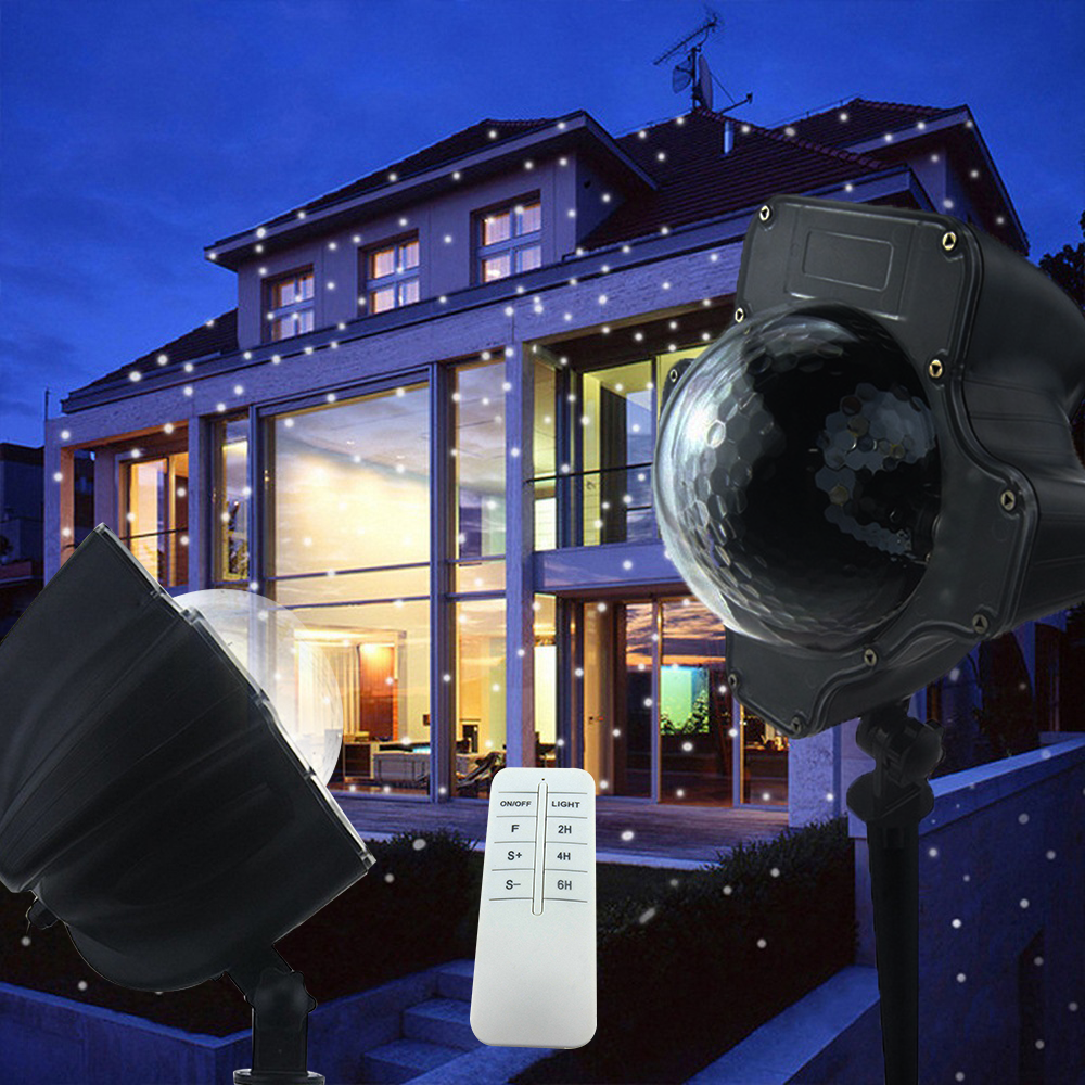 6W Snowing Projector Light Outdoor Christmas Garden Projector Spotlight Snowflake Landscape Lamp Decoration With Remote Control