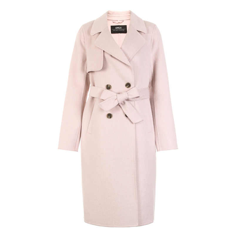 ALLEEN Vrouwen Herfst & Winter Double-Breasted Lace-up Wol Trenchcoat | 11834S503
