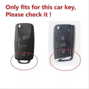 Image 2 - Alta qualidade matte fibra de carbono matte caso chave do carro para volkswagen polo golf skoda superb a7 passat beetle acessórios interiores