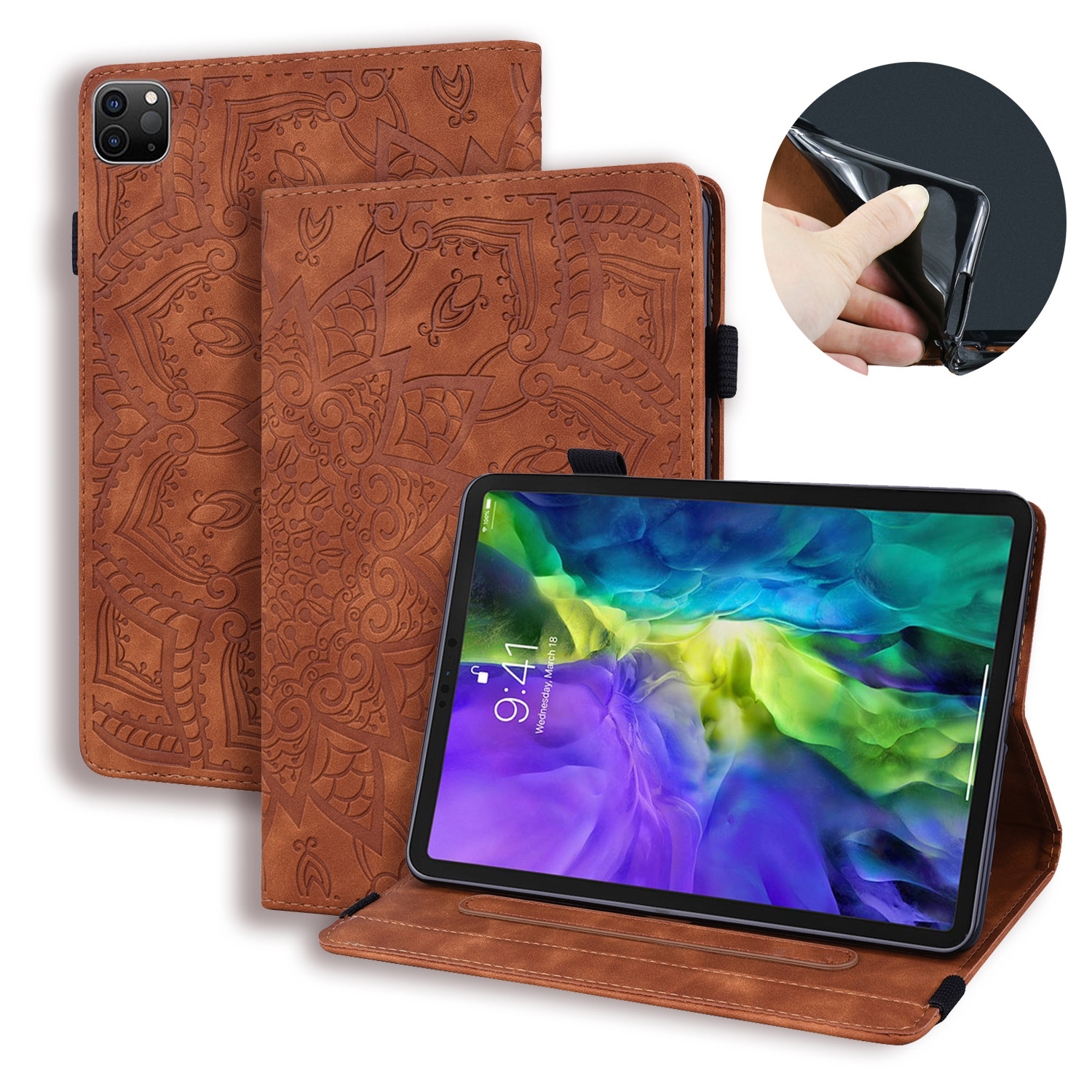 Brown Red Flower Embossed Tablet Cover For iPad Pro 2020 Case 12 9 4th Generation Tablet Cover Fold
