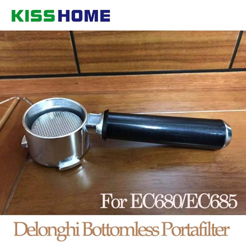 אספרסו קפה Portafilter עבור DeLonghi EC680 EC685 נירוסטה 51mm ללא תחתית קפה מכונת ידית עם מסנן סל