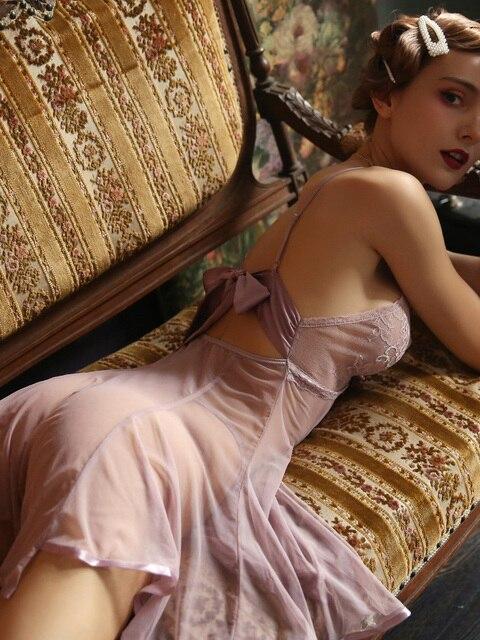 귀여운 여성 잠옷 레이스 백 보우 슈퍼 섹시한 메쉬 원근법 Nightdress 유혹 중공 깊은 V 슬리핑 드레스