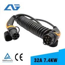 32A ładowarka EV kabel 7KW typ 2 do typu 2 IEC 62196 EV wtyczka ładowania z 5 metr kabel spiralny TUV/UL fischer connectors 2 złącze