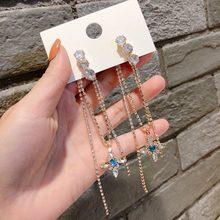 MENGJIQIAO-Pendientes largos con borla de diamantes de imitación para mujer, aretes de gota elegantes de cristal azul para fiesta, regalo de joyería, 2020