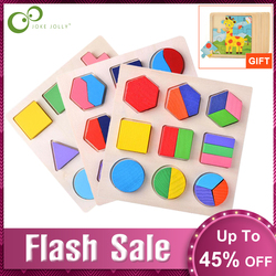 Wooden Geometric Shapes Sorting Math Montessori Puzzle Preschool Learning Educational Game Baby Toddler Toys for Children GYH