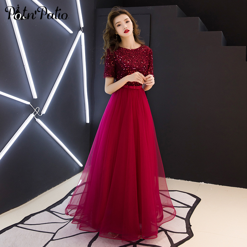 Wine Red Sequined   Prom     Dresses   Long 2019 O-neck Ball Gown Floor-length Women Formal   Dresses   With Short Sleeves Plus Size