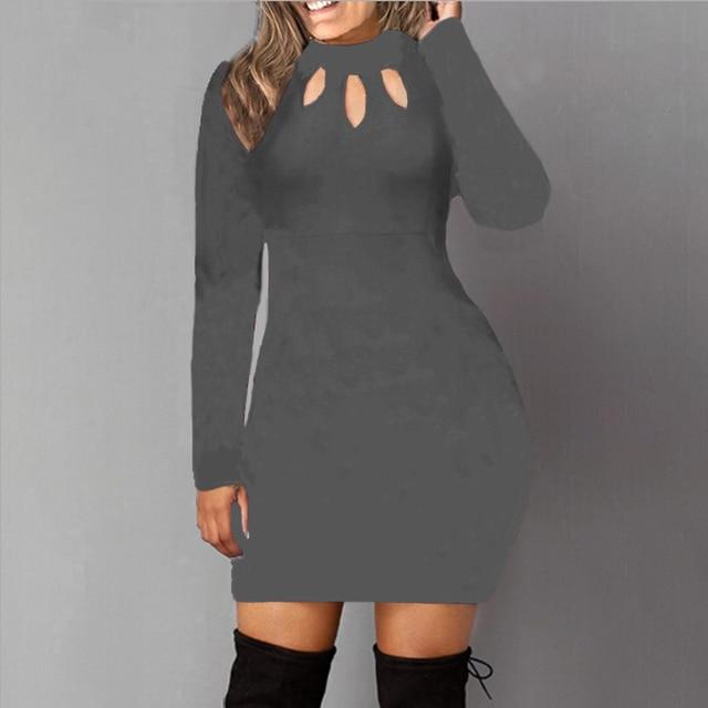 Bodycon Dress Women Long Sleeve Solid Color Dresses Spring Autumn Sexy Hollow Out Round Neck Black Mini Dress Cotton S M L 5XL 5