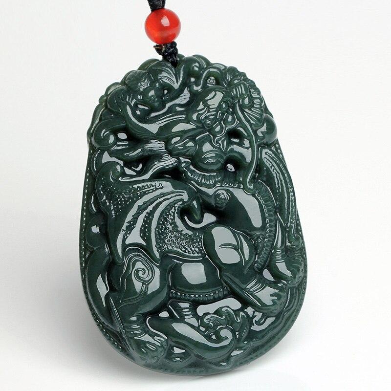 100/% China/'s natural  jade nephrite carving black jade pendant Buddha