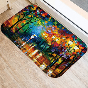 Image 3 - 40*60 センチメートル油絵風景マット非スリップスエードカーペットドアマットキッチンリビングルームのフロアマットベッドルーム装飾フロアマット。