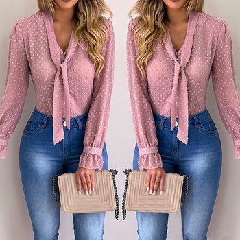 Elegant Women Autumn Fashion Long Sleeve V-neck Shirt Office Blouse Slim Casual Tops Female Plus Size Chiffon Blouses цена 2017