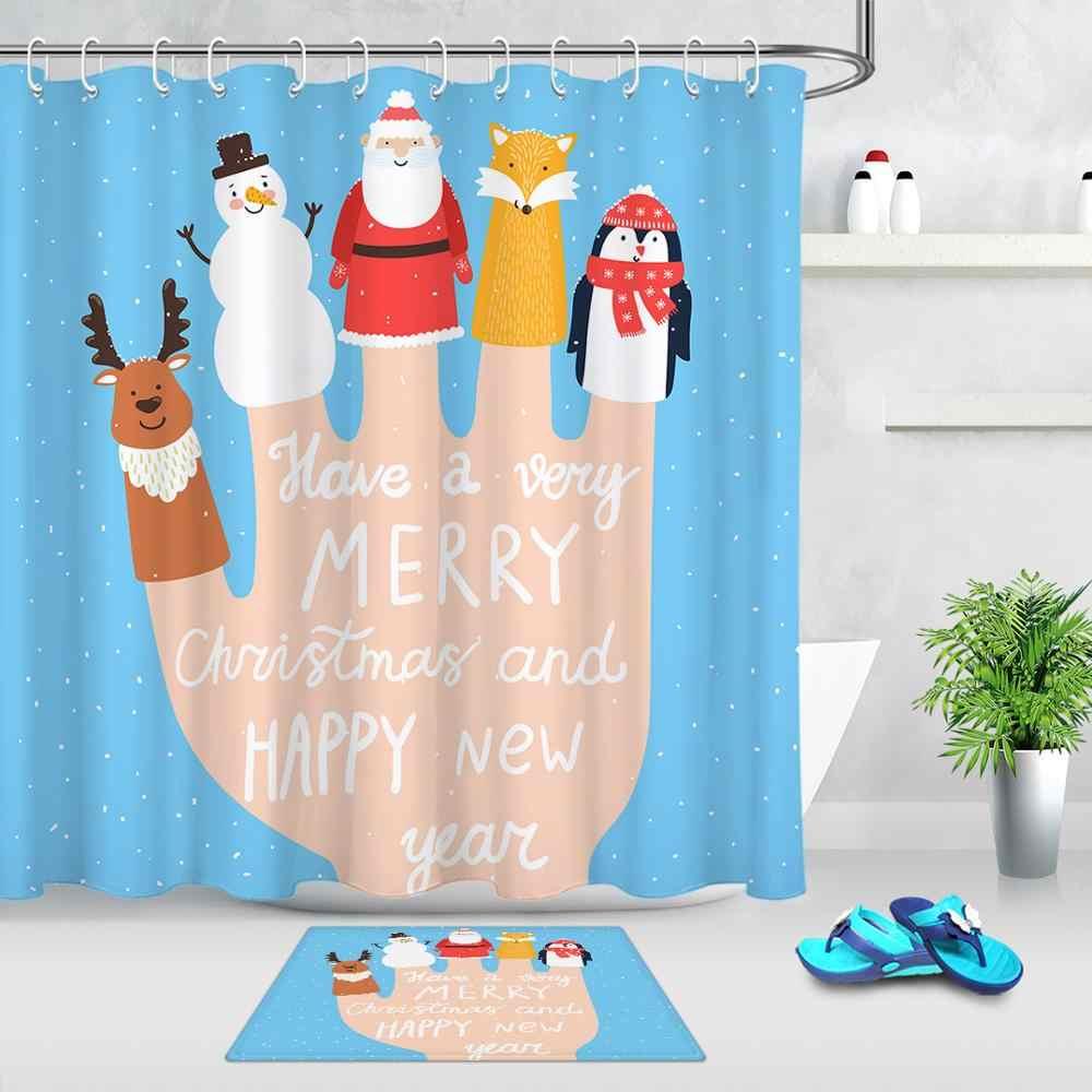 Merry Christmas Cartoon Shower Curtain Environmental With Hook Santa Snowman Deer No Punching Shower Curtain Rod Matching Shower Curtains Aliexpress