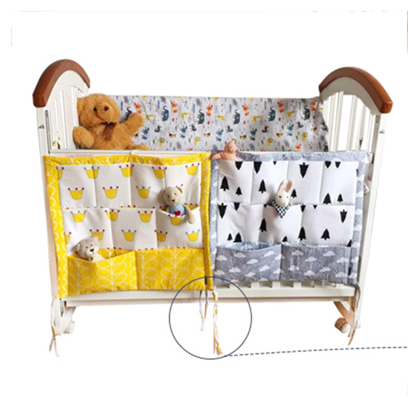 Hot Muslin Bed Hanging Storage Bag Baby Bed Fashion Baby Cotton Crib Organizer Toy Diaper Pocket 60 * 50cm
