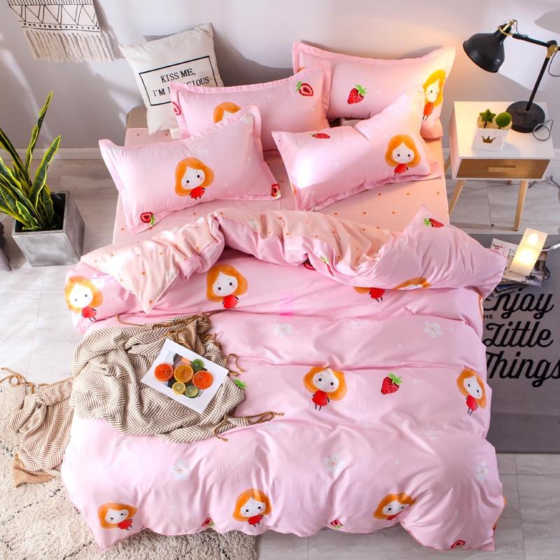 Купить с кэшбэком Pink cartoon 4PCS bedding set with strawberry printing duvet cover set sweet princess girl bedlinen bedclothes pink pillowcases