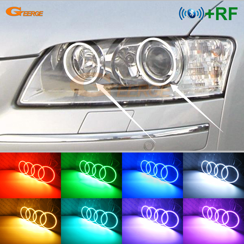 For <font><b>Audi</b></font> <font><b>A8</b></font> S8 2004 2005 2006 2007 <font><b>2008</b></font> 2009 Excellent RF remote Bluetooth APP Multi-Color Ultra bright RGB LED Angel Eyes kit image