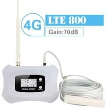 Walokcon 4G LTE 800 Repetidor De Sinal de Banda 20 Rápido 70dB 4G Rede 800mhz Móvel Signal Booster Ganho display LCD 4G Amplificador Kit