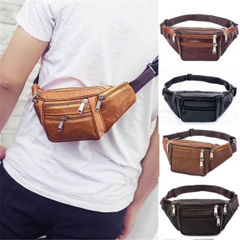 Sports Belt Bag Men Leather Bag Banana Waist Belt Pochette Sport Pocket Convenient Outdoor Sport Waist Packs Sport Belt Bags