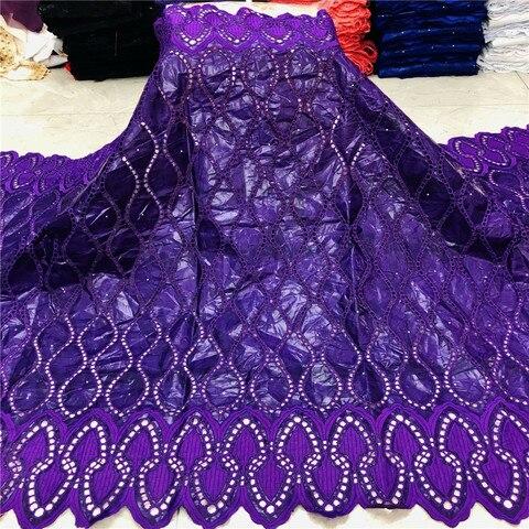 Tissu para Mulher 2020 de Alta Bacia Riche Qualidade Laço Pruple Bazin Brode Africano Tecido Vestido 5 Metros